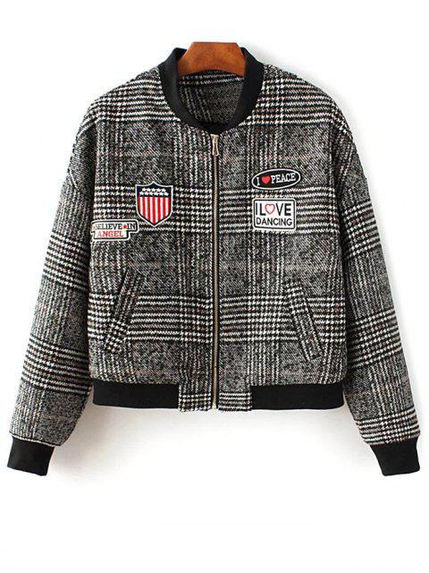 Houndstooth Lettre Veste Patched - Multicolore L Mobile