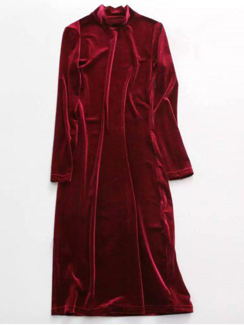 chic Velvet Stand Neck Long Sleeve Dress - WINE RED ONE SIZE Mobile