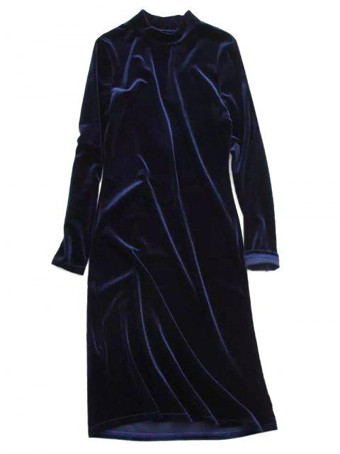 fancy Velvet Stand Neck Long Sleeve Dress - PURPLISH BLUE ONE SIZE Mobile
