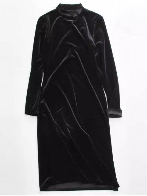 Kleid aus Samt mit Langen Hülsen und Stehkragen - Schwarz Eine Größe Mobile