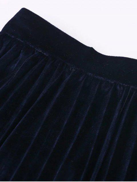 sale Velvet Pleated Midi Skirt - GREEN S Mobile