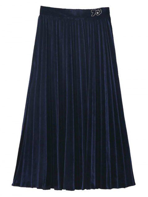Jupe mi-mollet vintage plissée en velours - Bleu Violet L Mobile