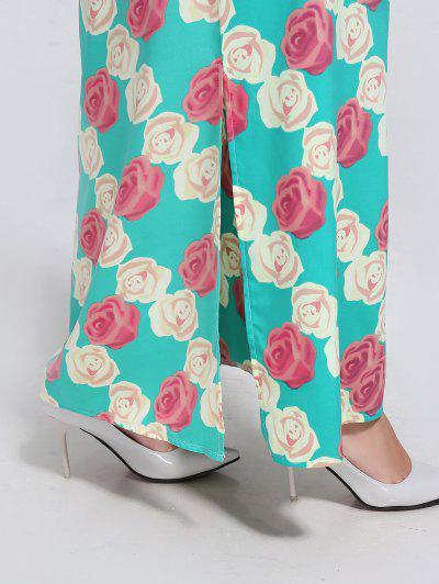 Printed V Neck Side Slit Maxi Dress