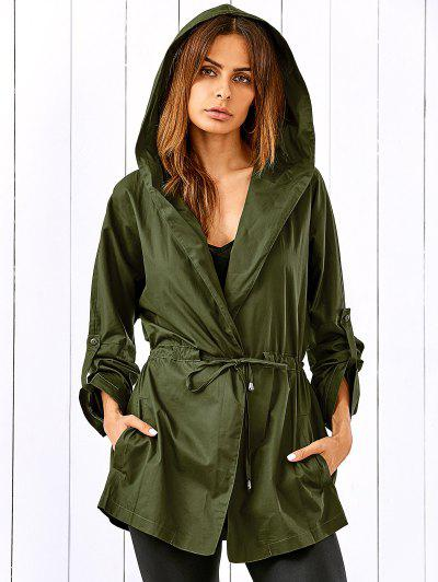 Drawstring Hooded Military Jacket - Army Green Xl