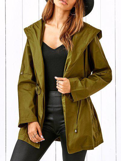 Drawstring Hooded Military Jacket - Celadon L