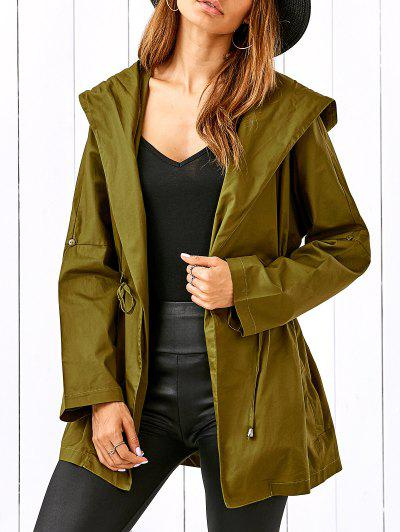 Drawstring Hooded Military Jacket - Celadon L