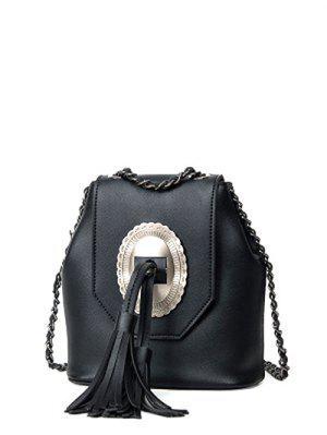 Tassels Chain Snap Closure Crossbody Bag - Black