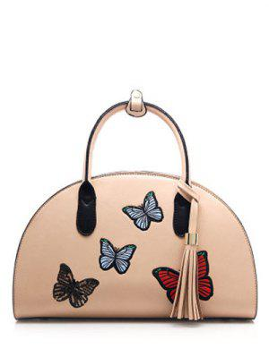 PU Leather Tassel Butterfly Embroidered Handbag - Apricot