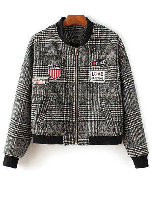 Houndstooth Letter Patched Jacket - L