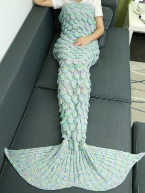 Fish Scale Knit Mermaid Throw Blanket - Azure