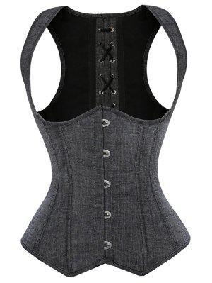 Lace Up Shapewear Denim Corset Vest - Gray 5xl