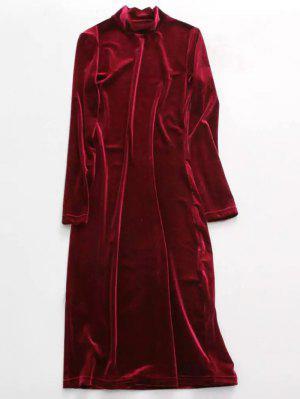 Velvet Stand Neck Long Sleeve Dress - Wine Red