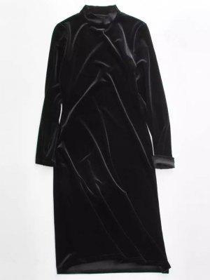 Vestido Terciopelo Manga Larga - Negro