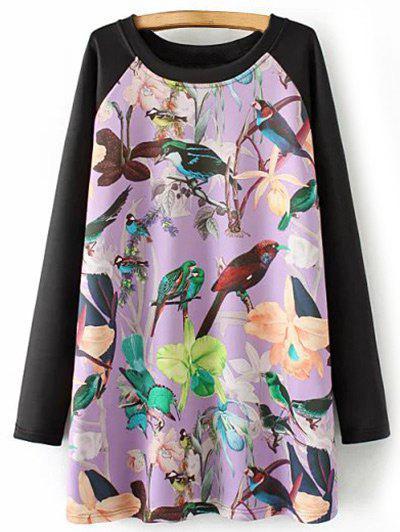 Robe imprimée des fleurs et des oiseaux avec des manches longues