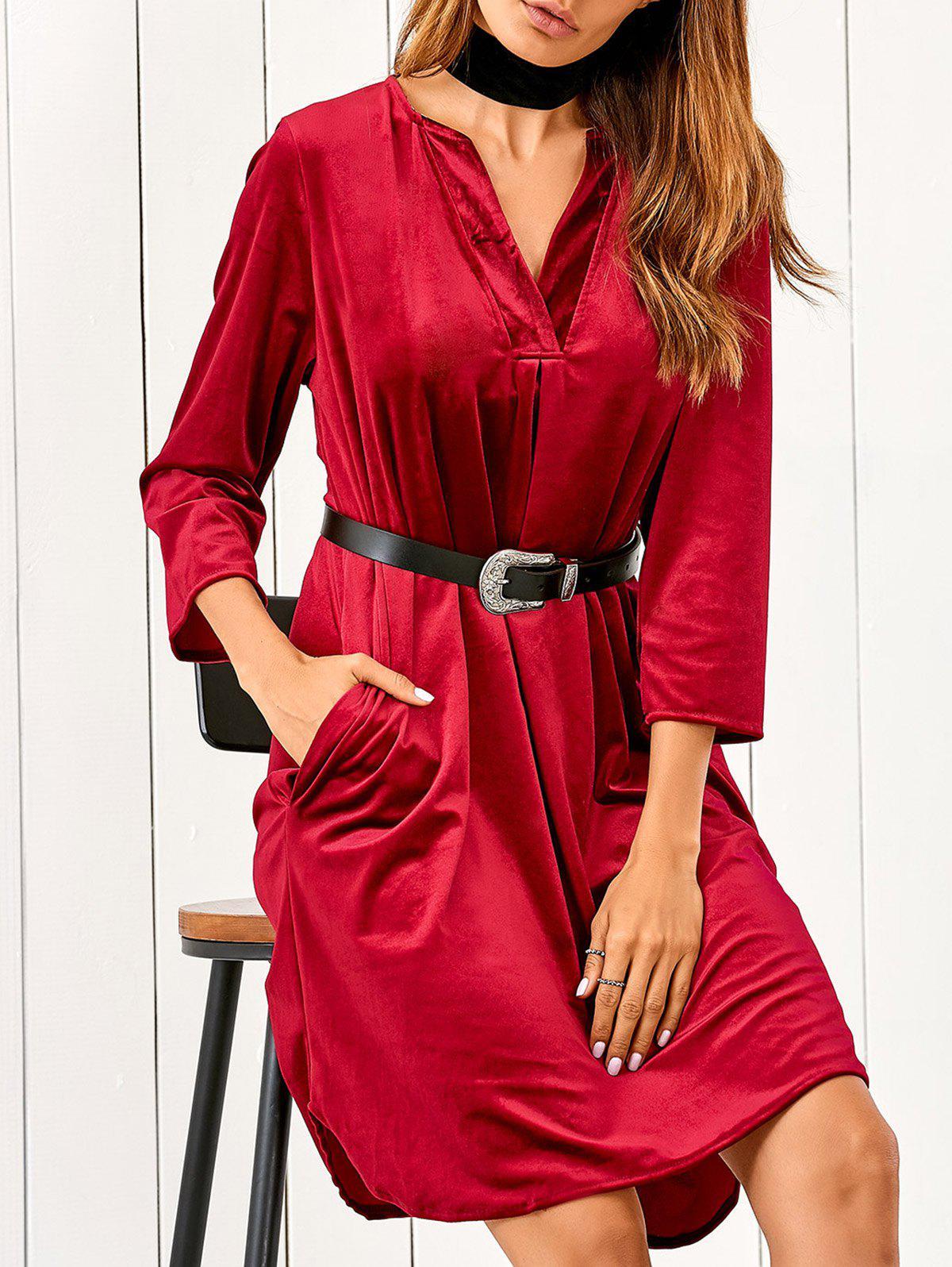 V Neck Pockets Midi Velvet Dress