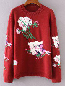 Floral Jacquard Sweater - Red M