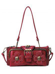 Buy Vintage Flowers Metal Trimmed Shoulder Bag RED