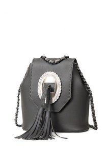 Tassels Chain Snap Closure Crossbody Bag - Deep Gray