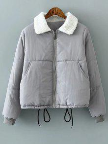 Borg Collar Quilted Puffer Jacket - Gray Xl