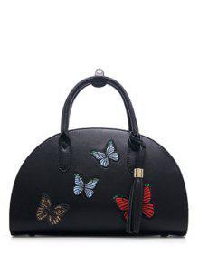 PU Leather Tassel Butterfly Embroidered Handbag - Black