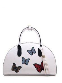PU Leather Tassel Butterfly Embroidered Handbag - White