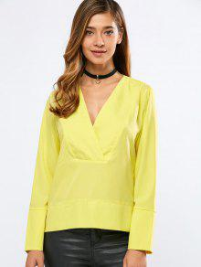 Buy Loose High-Low Blouse 2XL YELLOW