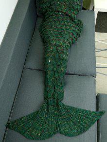 بطانية ميرميد مريح تصميم قطع محبوك - أخضر