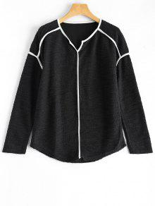 Piping V Neck Knitwear - Black M