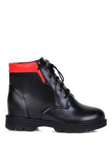 Buy Increased Internal Platform Color Spliced Ankle Boots - BLACK 37