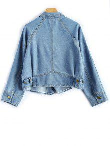 ... Button Up Cropped Denim Jacket ...