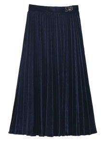 Velvet Pleated Midi Skirt - Purplish Blue L