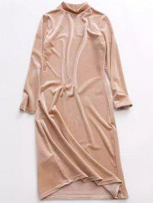 Velvet Stand Neck Long Sleeve Dress - Yellowish Pink