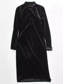 Velvet Stand Neck Long Sleeve Dress - BLACK ONE SIZE