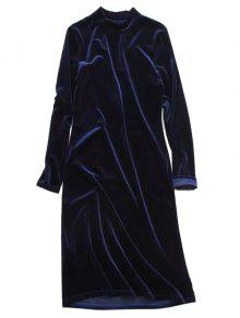 Velvet Stand Neck Long Sleeve Dress - Purplish Blue