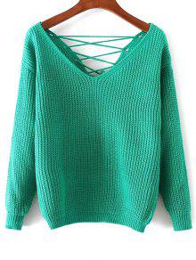 Double-V Lace-Up Sweater - Green