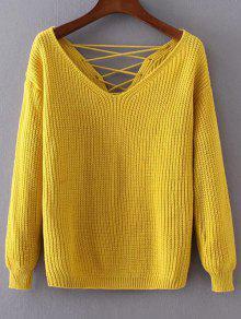 Doble-V Con Cordones De Suéter - Amarillo
