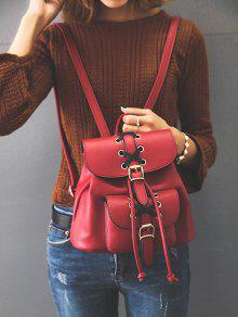 Resultado de imagen para Buckles Eyelet Criss-Cross PU Leather Backpack - Red