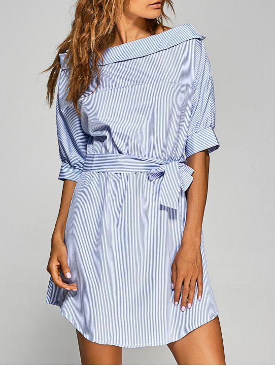 latest Striped Asymmetric Neckline Belted Dress - BLUE AND WHITE L