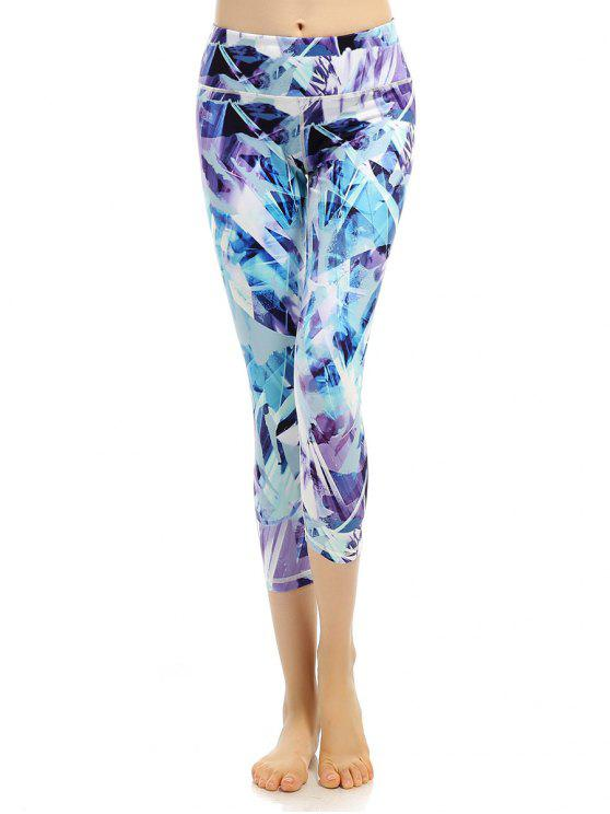 Sporty Stretchy Printed Cropped Leggings - Bleu-Violet M