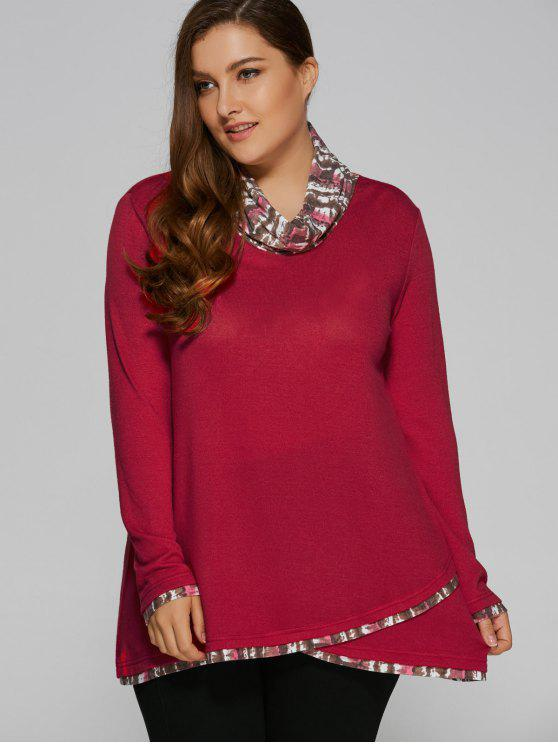 fashion Overlay Cowl Neck Plus Size Blouse - DEEP RED XL