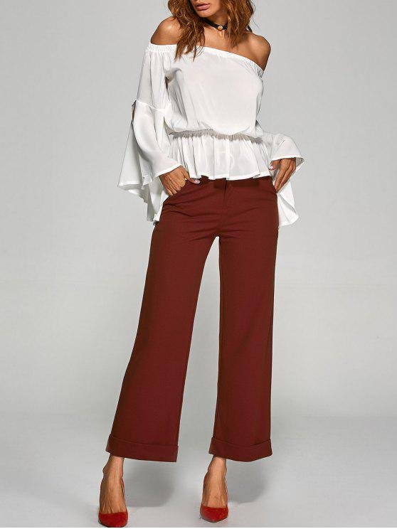 chic Turnup Wide Leg Pants - WINE RED L