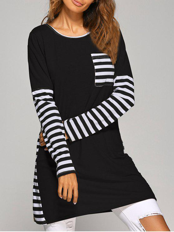 lady Contrasting Stripe Long Sleeve T-Shirt Dress - BLACK M