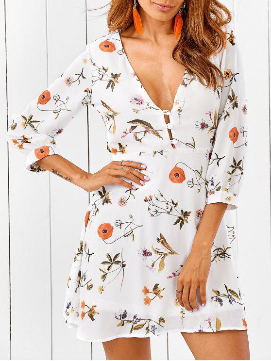 Hundiendo cuello del vestido floral de recorte - Blanco 2XL