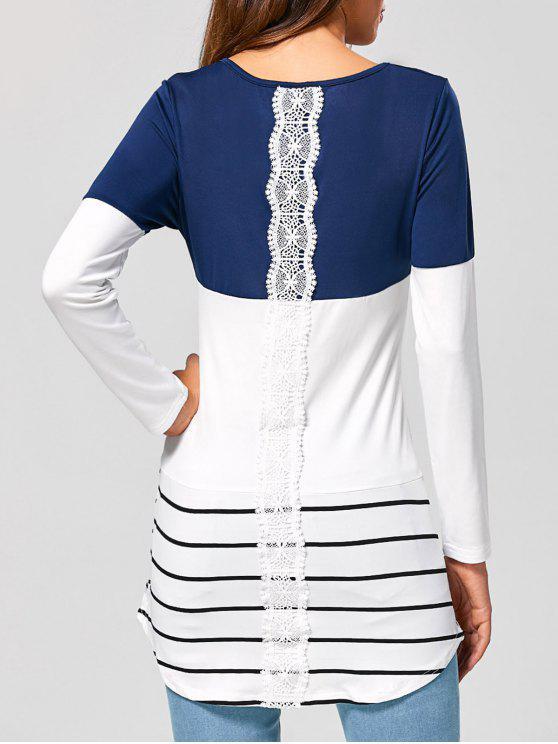 women Long Striped Lace Panel Long Sleeve T-Shirt - DEEP BLUE L