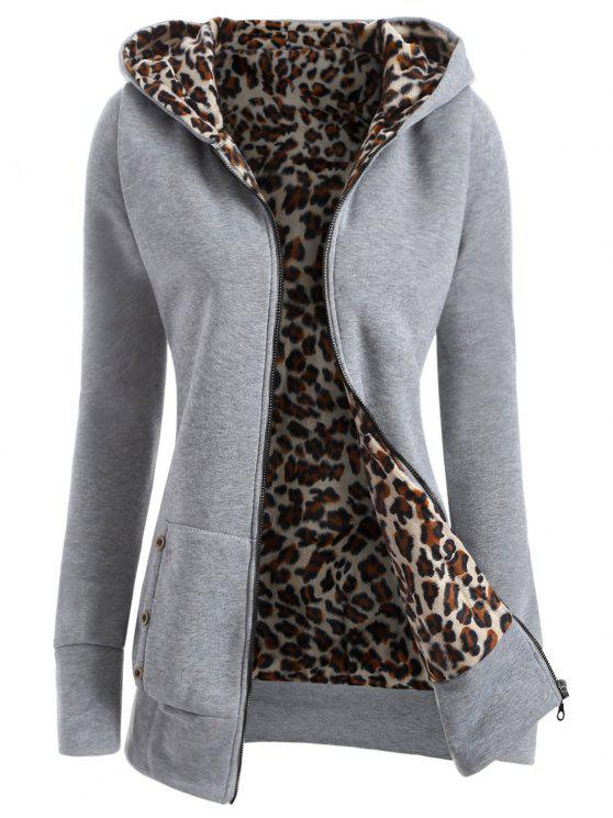 affordable Zipper Fly Thicken Leopard Pattern Hoodie - LIGHT GRAY M