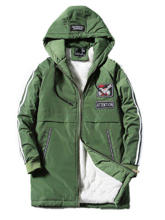 Cappotto in Pile Impreziosito da Cinture a Cravatta Allungata con Applique - verde  S
