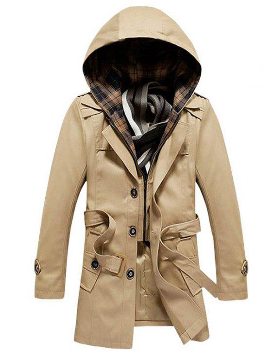 shop Buttoned Detachable Hooded Belted Coat - KHAKI M