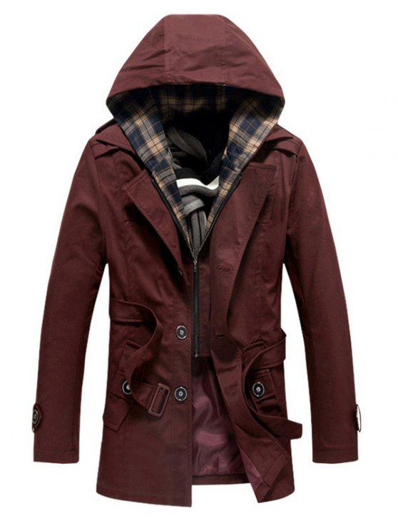 fashion Buttoned Detachable Hooded Belted Coat - WINE RED 4XL