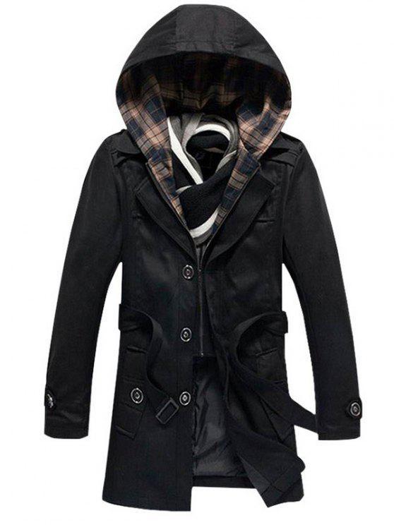 Knöpft abnehmbare Kapuze Belted Coat - Schwarz 4XL