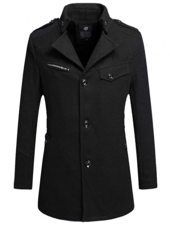best Single Breasted Turn Down Collar Woolen Coat - BLACK 4XL